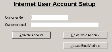 Internet user account setup